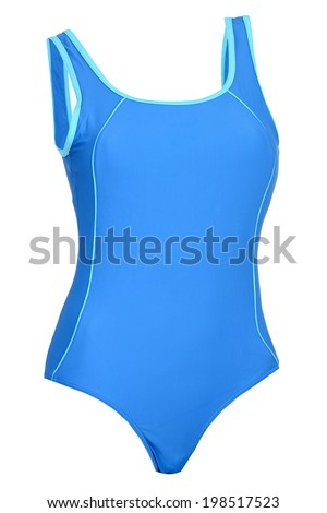 Blue woman swimsuit isolated on white background