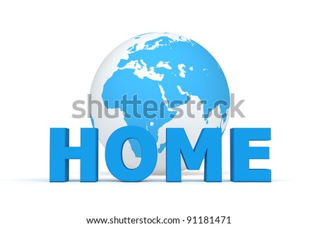 blue word HOME in front of a blue and white globe