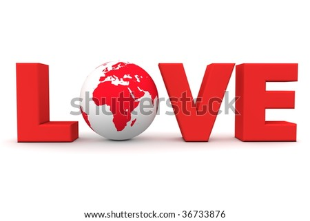 blue word Love with 3D globe replacing letter O