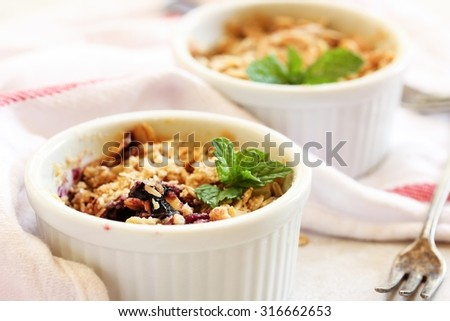 Blueberry crisp / Baked oatmeal with blueberries, shallow depth of field