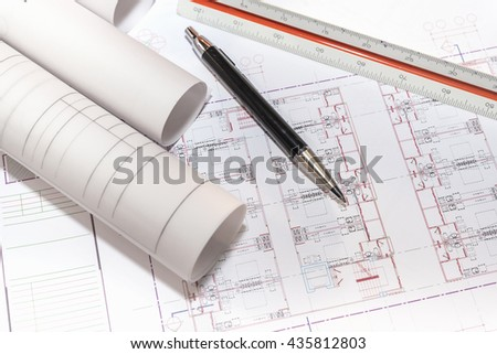 Abstract 3d illustration blueprints building stock illustration blueprints paper and rolls with pen and ruler on table detail of architectural project construction malvernweather Image collections