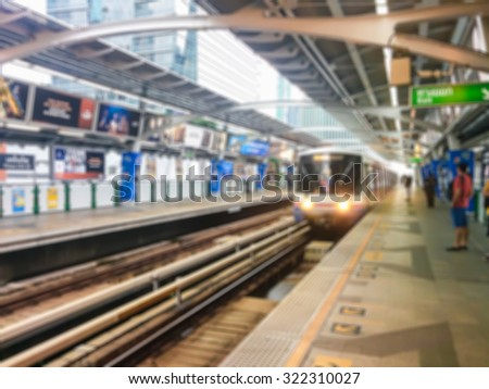 blur image of skytrain station for background