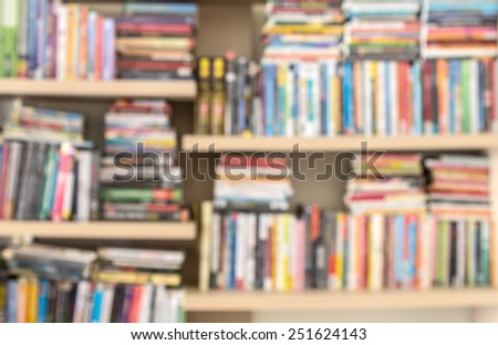 blure of Books on a shelf background
