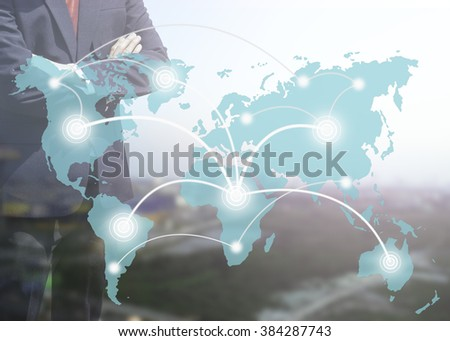 Blurred Business man success or teach on marketing online or e learning with global learning link on world map sky color tone on over blur or blurred top view city with light background.