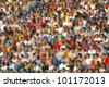 Blurred crowd of spectators at the stadium - stock photo