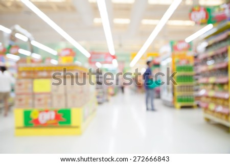 Blurred defocused background of generic supermarket  people walking  shopping