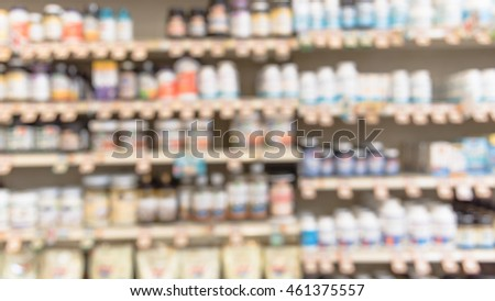 Blurred image of vitamin store shelves with huge variation of vitamins and supplements, natural remedies, functional food, lifestyle support, and herbal. Medical supplies product abstract background.