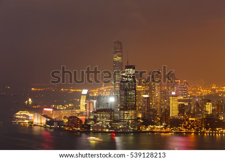 Blurred lights Hong Kong central business downtown aerial view