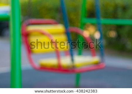 blurred playground or play yard without kids at summer