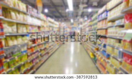 Blurred supermarket aisle and shelves