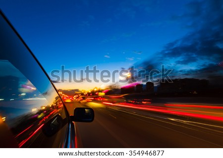 blurred urban look of the car movement at nights long exposure