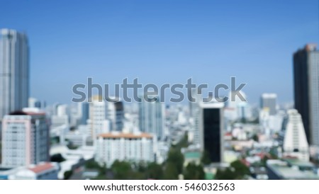 Blurry cityscape  as seen from windows for background - Business Concept