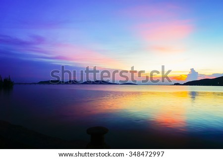 Blurry image view at Songkhla Lake with sunset defocus background.