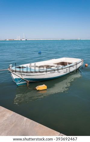 Boat moored in Zakynthos port, capital city of the island, Greece