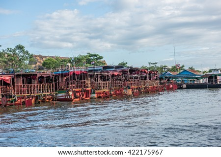 Boats on Siem Reap Riverbanks