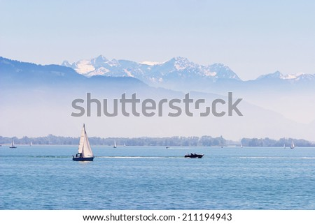 Boats on the Lake of Constance with the Alps in the back ground