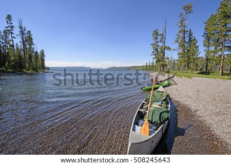 Boats ready for the trip on Shoshone Lake in Yellowstone National Park in Wyoming