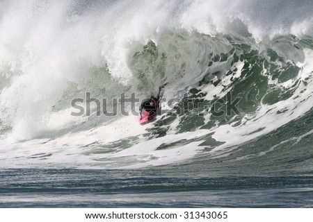 body boarder in action on a powerful wave in Anglet ( france )