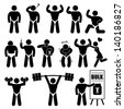 Body Builder Bodybuilder Muscle Man Workout Fitness Steroid Stick Figure Pictogram Icon - stock vector