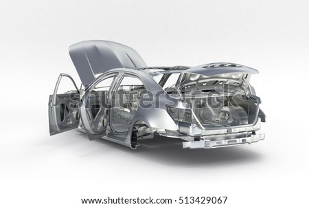 Body Car No Wheel Isolated On Stock Illustration