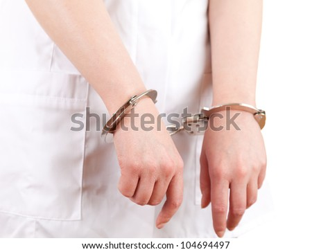 body part of doctor in white uniform with handcuffed hands, white background