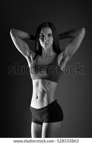 Bodybuilding. Strong fit woman