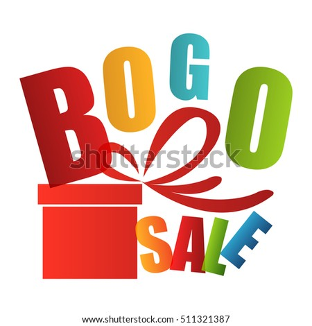 BOGO Sale Buy One Get One Free Sign or Icon Isolated on White Background