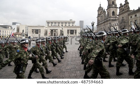 BOGOTA, COLUMBIA - JANUARY 18: Colombian soldiers march and perform during a military parade at Historical Central, Plaza de Bolivar on January 18, 2009 in Bogota, Colombia.