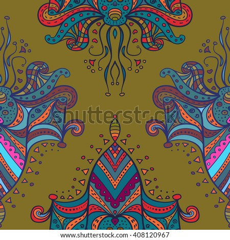 Boho abstract doodle pattern. Seamless pattern with symmetrical elements created for wallpapers design, background, textile, wrapping.