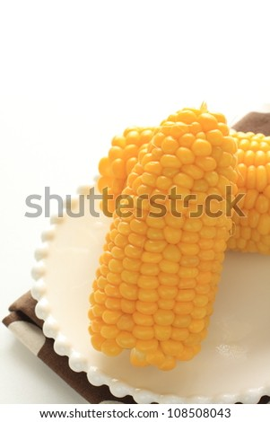 Boiled sweet corn for summer food image in Japan