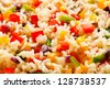 Boiled white rice and vegetables - stock photo