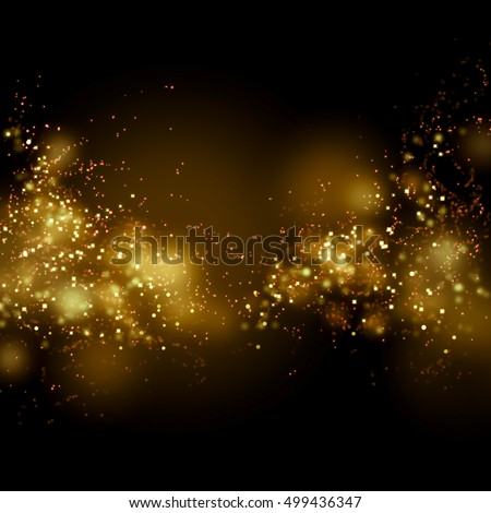 Bokeh gold dust glitter star background. Abstract milky way galaxy.