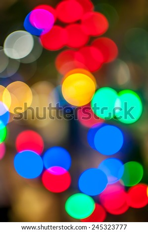 Bokeh light of the LED lamp in the night