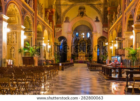 BOLOGNA, ITALY - MARCH 10, 2015: Detail of the interior of the church of San Giacomo Maggiore in Bologna, Italy.