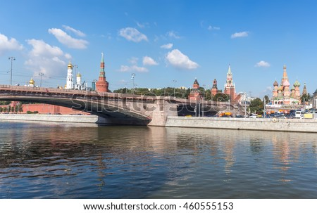 Bolshoy Moskvoretsky Bridge, Kremlin and St. Basil's Cathedral, view from the river