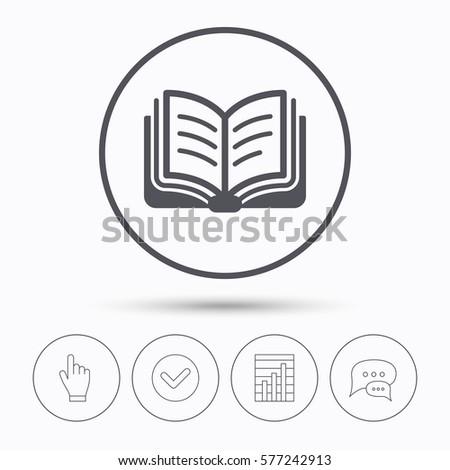 book icon study literature sign education stock vector  study literature sign education textbook symbol chat speech bubbles check