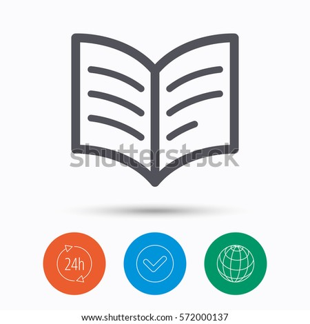 book icon study literature sign education stock vector  study literature sign education textbook symbol check tick 24 hours