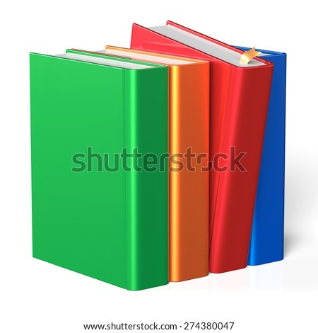 Book selecting bookshelf take one from four books row grab blank covers colorful standing choosing template. School studying knowledge content icon concept. 3d render isolated on white background