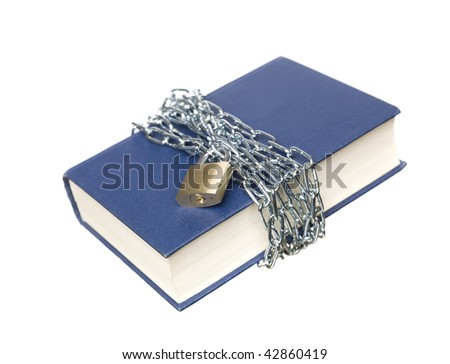 Book with a chain and lock wrapped around it