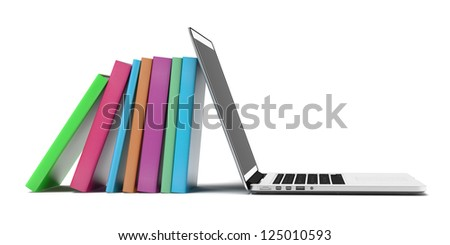 Books and laptop isolated on a white background