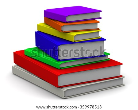 Books are stacked. Colorful books are stacked on a white surface. The three-dimensional illustration. Isolated