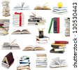 Books collection isolated on a white background. - stock photo