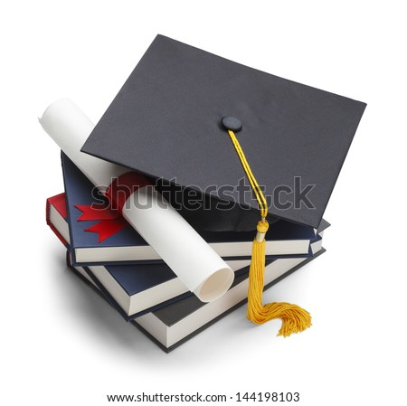Books with Graduation Cap and Degree Isolated on White Background.