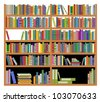 Bookshelf with ancient and modern books isolated on white for education design. Vector version also available in gallery - stock photo