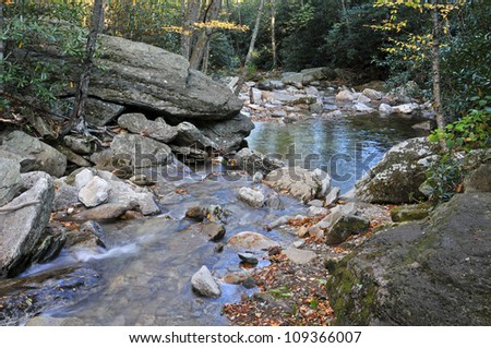 Boone Fork, Tanawha Trail, Blue Ridge Parkway in Autumn Horizontal