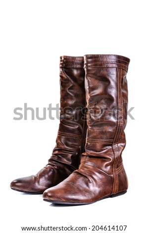 Boot, Leather boots on a white background