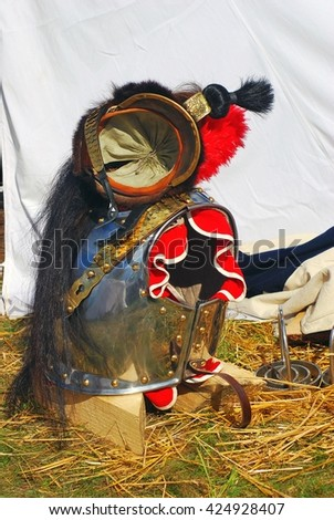 BORODINO, MOSCOW REGION, RUSSIA - SEPTEMBER 07, 2014: Vintage style costume of Napoleonic war times at Borodino battle historical reenactment.