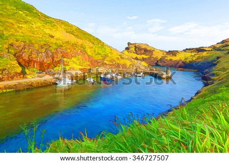 Boscastle harbour North Cornwall uk bright colours illustration like cartoon effect, located between Bude and Tintagel England