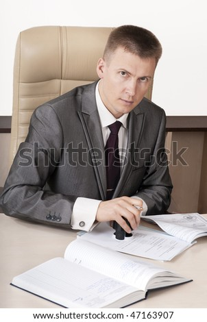 Boss doing paperwork, business and finance concept