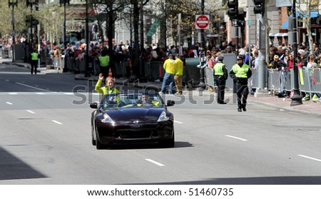 BOSTON - APRIL 19:  Hanna Kearney, the Grand Marshall of the Boston Marathon, rides in a car on April 19, 2010 in Boston, MA.  She is a gold medalist in the 2010 Olympic Winter Games.
